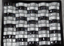 factory price water flow black/white crystal glass mosaic tile on sale (PMGB20)