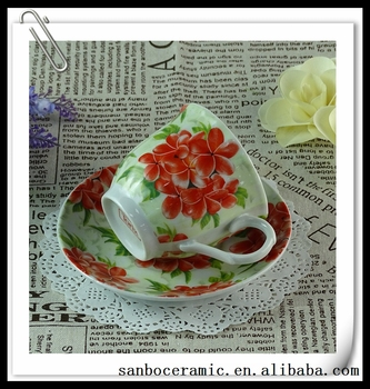 China 2016 Red Rose Design Tea Cup Luxury Favors Coffee Cup