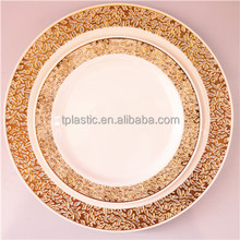 Disposable PS plastic plate with hot stamp plastic christmas plates disposable