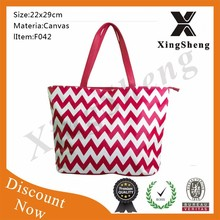 2015 new products canvas chevron tote bag wholesale
