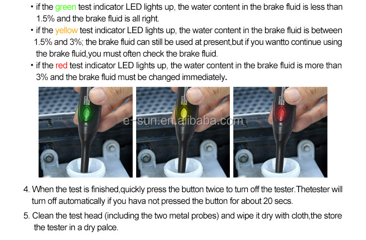 ALL-SUN EM2272A Automotive Tester  Brake Fluid Car Brake Test Tool Pen Type Portable Auto Brake System Checker DOT3 DOT4 DOT5.1