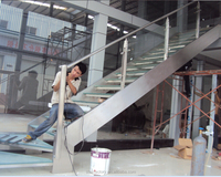 Modern steel staircase, glass stairs ,Laminated Tempered Glass TreadTS-318