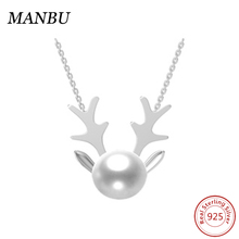 Wholesale Customized colour 925 sterling silver Antlers necklace pendant with fresh water pearl&CZ stones