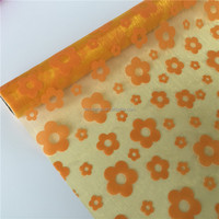 Floral wrapping flocking organza fabric