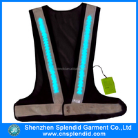 High visibility custom reflective black flashing led safety vest
