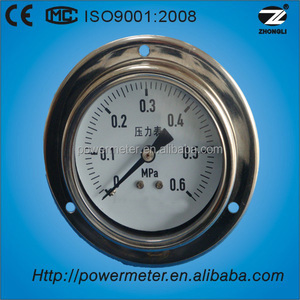 "YTN-100 4"" glycerin or silicone oil filled shockproof pressure gauges with front flange 0.6MPa"