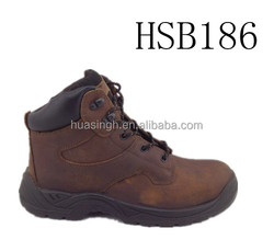 fashion brown oily leather western cowboy working time ankle safety boots