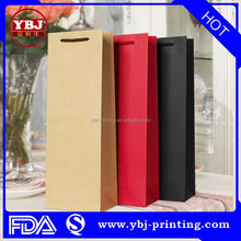 Hot sale customized full color printing luxury gift packaging high quality wine bag/ Paper Gift Bags With Handles