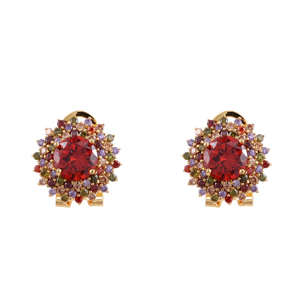 Gold Plated Colorful Ruby Stone Zircon Stud Earring