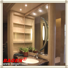 Hotel illuminated bathroom mirror with demist(made in China)