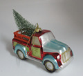 Classic Red Bug Car Hauling Tree Hanging Christmas Ornament