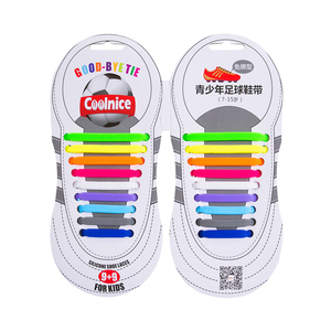 Unisex Rainbow Football Athletic Easy Quick Print Logo Flat Mini Kids Silicone Elastic Shoelaces for Shoe Lace Accessories