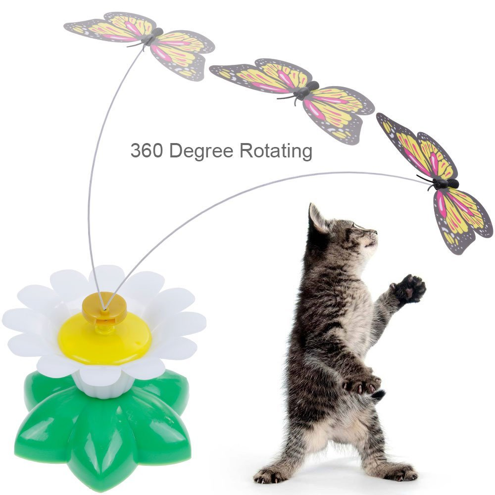 New Funny Pet Cat Kitten Playing Teaser Toy Electric Rotating Butterfly Bird Steel Wire Puzzle Toys With Spinner Whirling