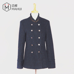 new arrival fashion textured UK slim fit double breasted button woman jacket wool