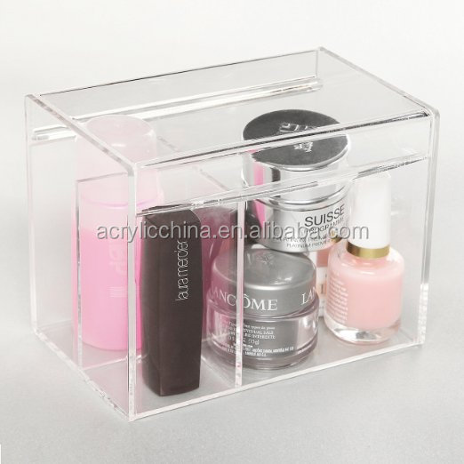 Acrylic face powder brush holder / makeup cotton organizer divider