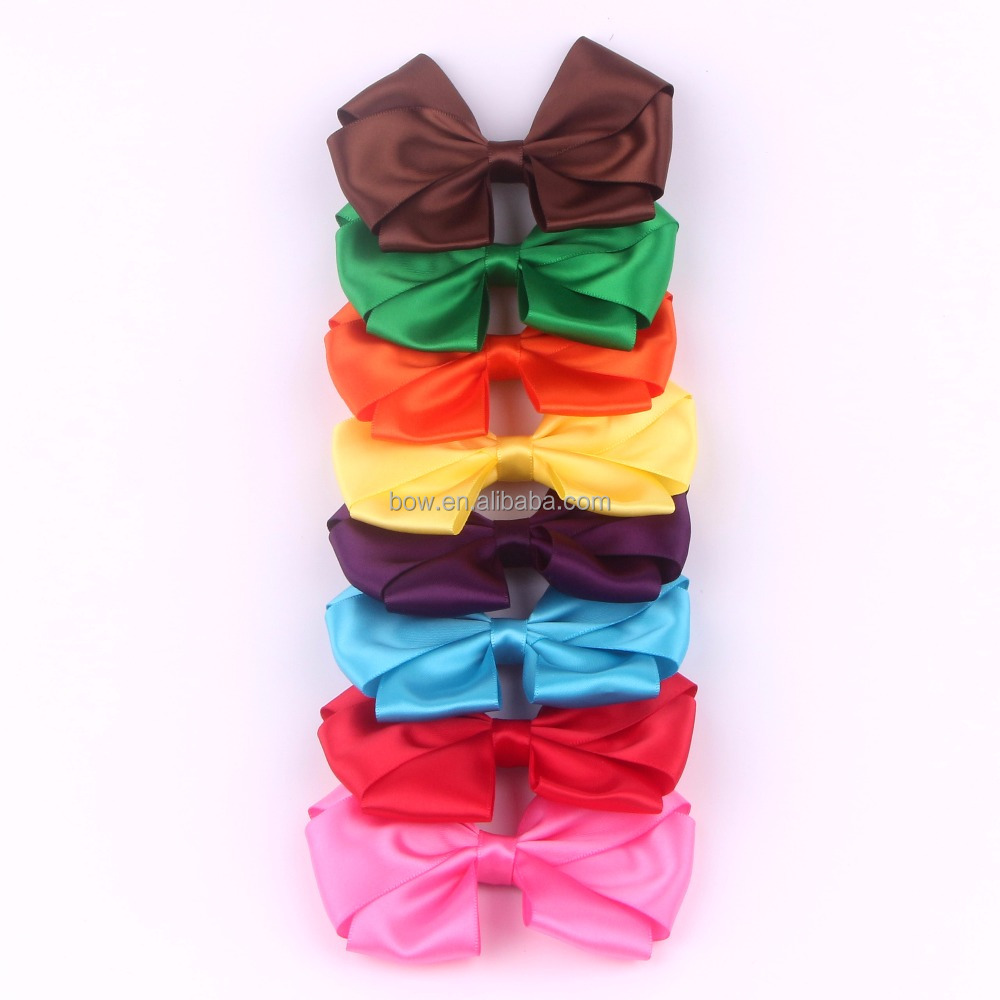 satin ribbon bow with hair clip for girls hair decoration