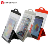Hot new products waterproof cell phone bag with bracket, mobile phone PVC waterproof bag for promotional gift