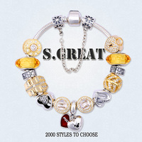 Mother's Day love silver 925 bracelet jewelry fit pandora style wholesale hearts charm jewelry manufacturer
