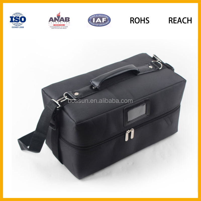 PU leather cosmetic storage fold beauty case with trays