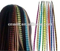 Grizzly feather hair extension Synthetic Rooster Feather Hair Extension With Microbeads