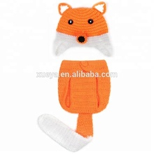 Fast shipping fox stylish crochet knit baby clothes newborn costume