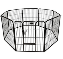Dog Pen Metal Fence Gate Portable Outdoor | Heavy Duty Outside Pet Large Playpen Exercise RV Play Yard