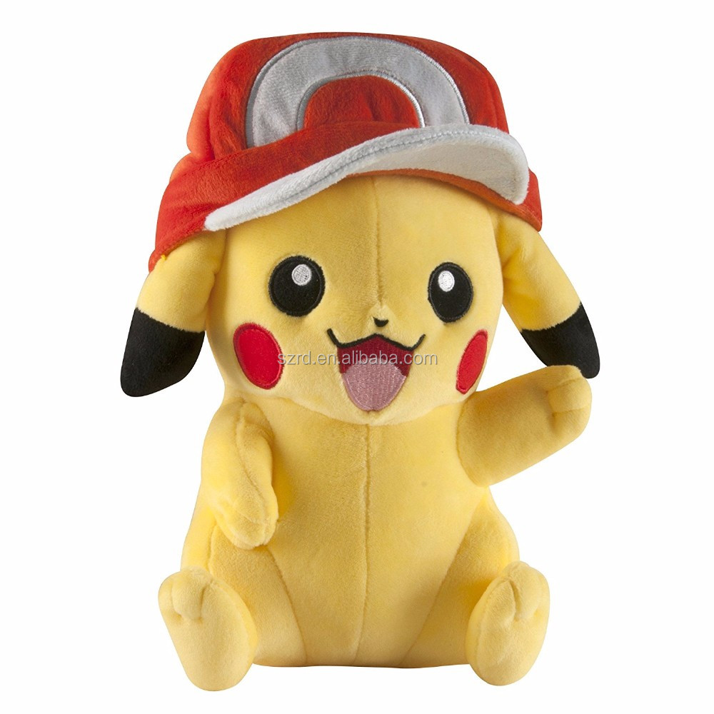 Pokemon Large Pikachu with ash's hat plush/yellow color pokemon animal toy/plush doll for kids