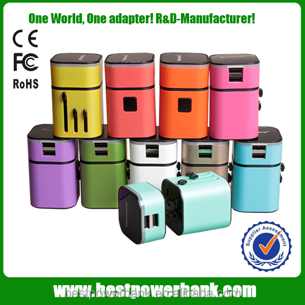 HC-302 colorful phone battery wall charger adapter universal travel adapter with usb charger