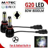2017 auto car & motorcycles G20 led headlights conversion kit h4 h11 h13 9007 9006 h7 40w 80w 8000lmall in one led headlight kit