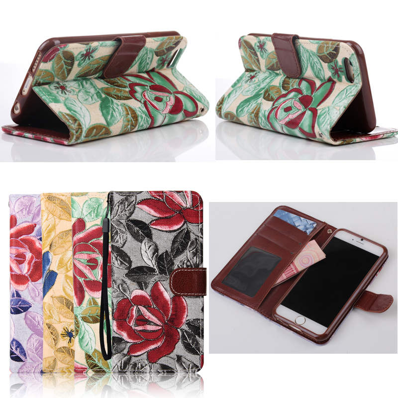 Beautiful flower leather case for iPhone 6/6S with credit card & money slots