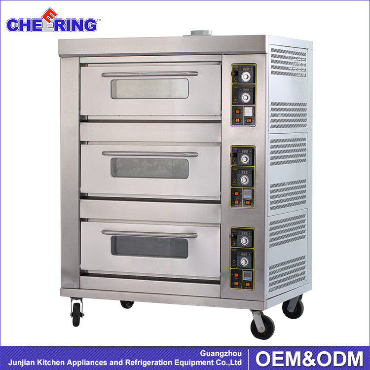 3 layers 9 trays High Quality Commercial pizza oven / bakery gas deck oven
