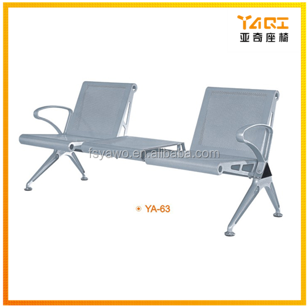 New design hot sale OEM Lounge waiting room steel airport bench chair with one square table YA-63
