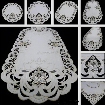 beige color embroidery tablecloth with hand cutwork