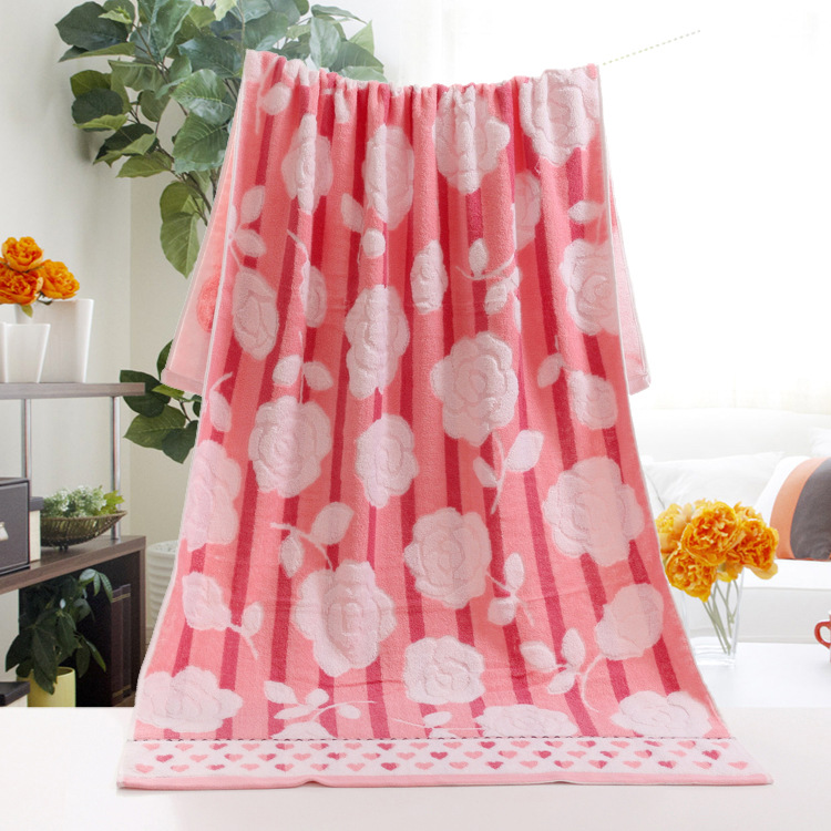 Stylish And Customized Soft And Comfortable Beautiful Rose Heart Pattern Bath Towel 70*140cm, Brilliant Art Hand Towel