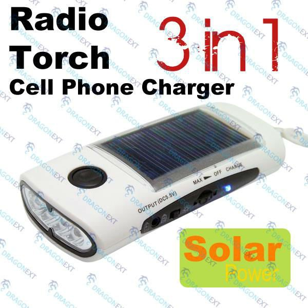 3 In 1 LED Solar Panel Power Flashlight Torch FM Radio Phone Charger