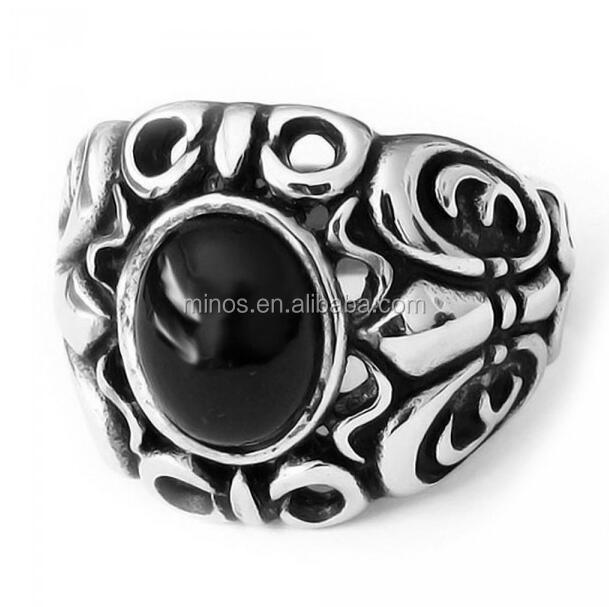 Men's Stainless Steel Ring With Black Onxy Stone Inlay