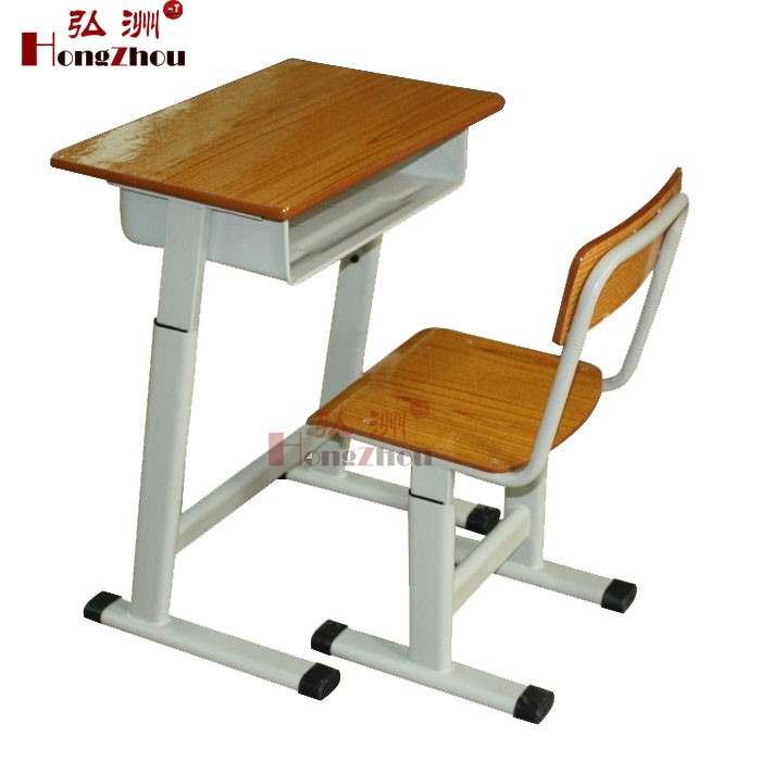 Single Adjustable Height Children Desk and Chair Cheap Price Wooden