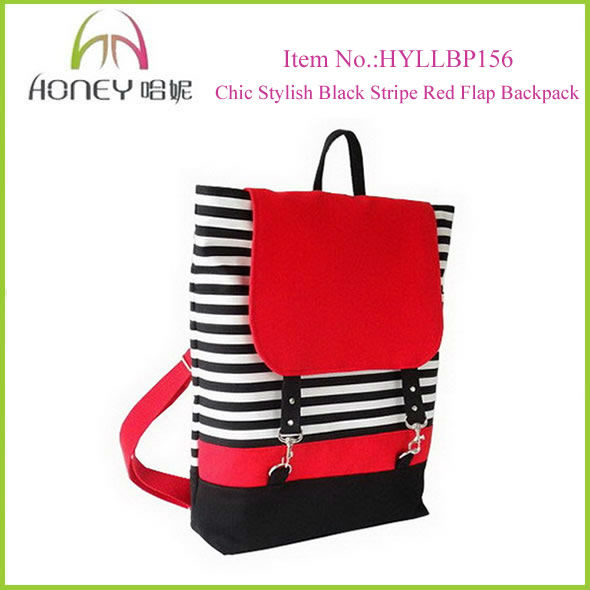 2013 Fashion Black Strips Stylish College Canvas Backpacks For Girls