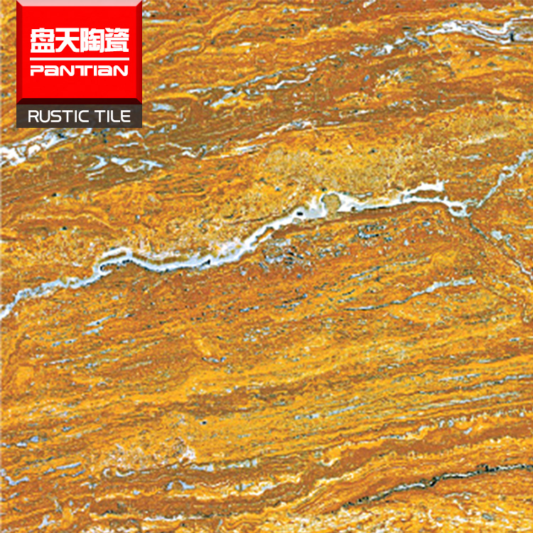 Glazed golden marble look glossy Porcelain bathroom floor tiles bangladesh marble tile price