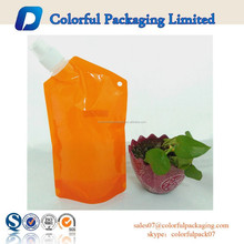 2015 reusable food pouches with cap for liquid drink / water packaging, hole for carabiner ideal portable for traveling