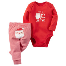 Super September Baby Long Sleeve Romper + Striped Pants Cartoon Baby Clothing Sets