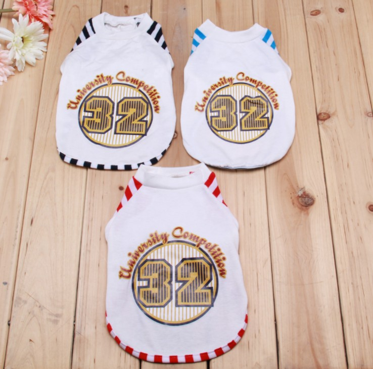 Wholesale Stock The new <strong>pet</strong> in spring and summer clothes T-shirt stripe cotton T digital dog clothes feet comfortable breathable