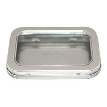 High quality small rectangular metal hinged tin with clear window