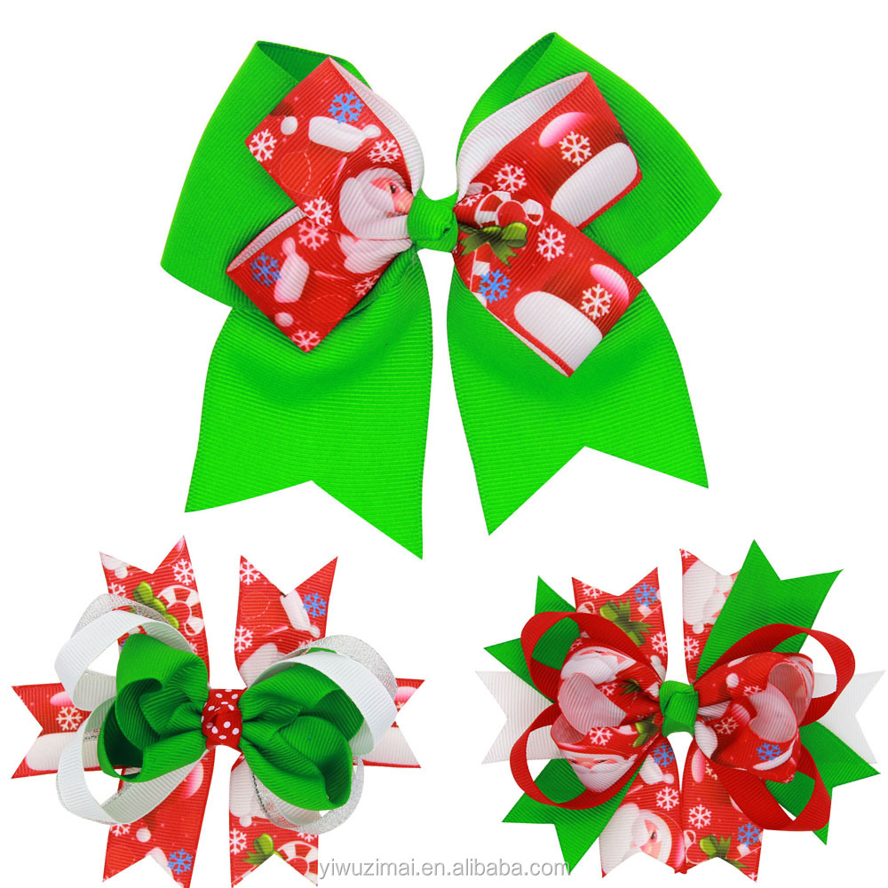 Christmas 3 designs Children Grosgrain Ribbon Boutique Hair Bows with Clip