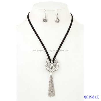 Western Rhinestone Pave Accent Tassel Pendant Cord Necklace