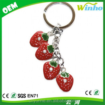 Metal Strawberry Charm Keyring