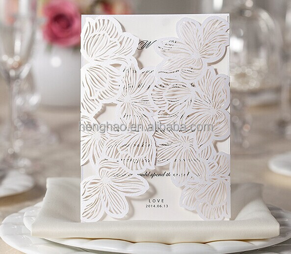 Top sale blank wedding invitation cards laser die cut wedding invitation card