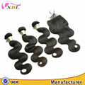 xbl cuticle aligned hair very soft tangle free cambodian virgin hair bundles with lace closure
