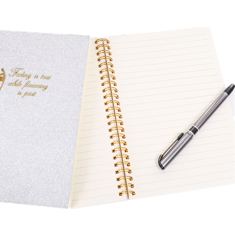 2019 2020 New Wholesale Sequins Shiny Glitter Cover A5 Spiral notebook