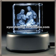 laser engraved crystal cubes with Light Base for Holiday Gifts